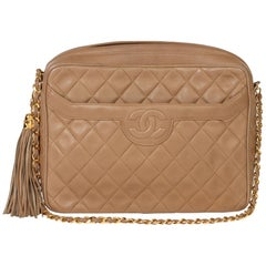 Chanel Mocha Quilted Lambskin Vintage Timeless Fringe Camera Bag