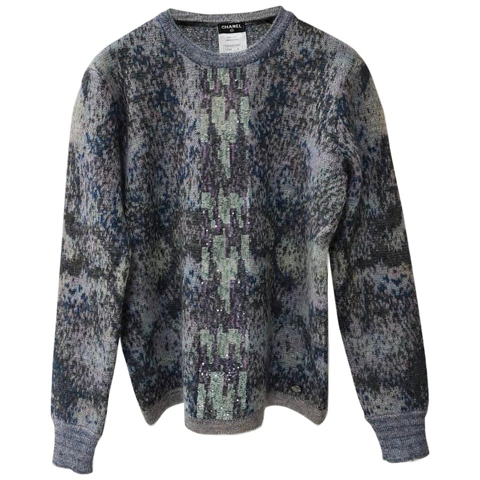 Chanel Mohair Embellished Multicolor Sweater