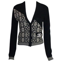 Chanel Monochrome CC Logo Intarsia Cashmere Knit Cardigan Jacket