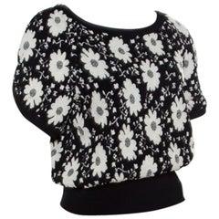 Chanel Monochrome Floral Jacquard Knit Ribbed Trim Short Sleeve Top M