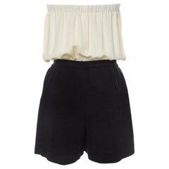 Chanel Monochrome Linen and Silk Strapless Romper M