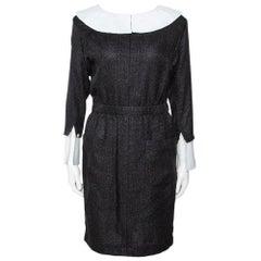 Chanel Monochrome Lurex Cotton Blend Collared Sheath Dress M
