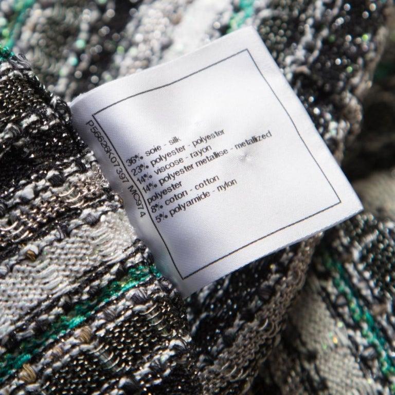 Women's Chanel Monochrome Silk Blend Crystal Embellished Plunge Back Tweed Blazer S For Sale
