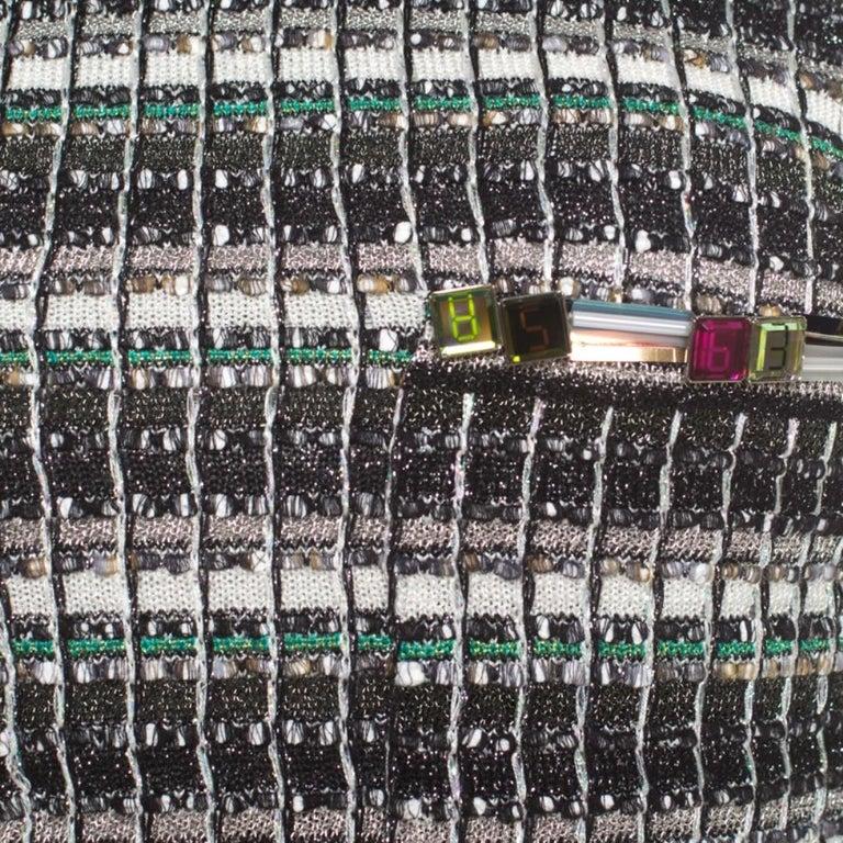 Chanel Monochrome Silk Blend Crystal Embellished Plunge Back Tweed Blazer S For Sale 2