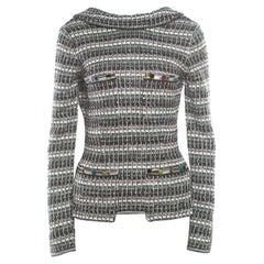 Chanel Monochrome Silk Blend Crystal Embellished Plunge Back Tweed Blazer S