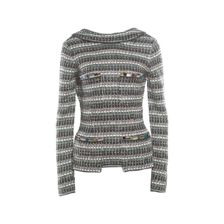 Chanel Monochrome Silk Blend Crystal Embellished Plunge Back Tweed Blazer S For Sale