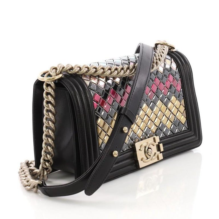 9d8f7592bd06 Black Chanel Mosaic Boy Flap Bag Embellished Lambskin Old Medium For Sale