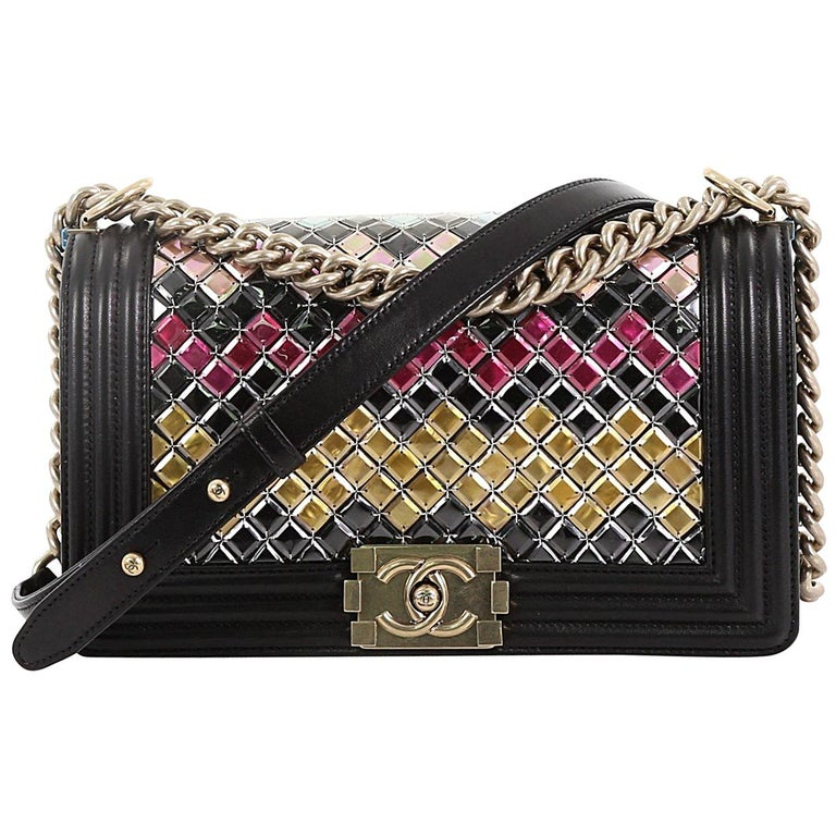 dabe10d002f2 Chanel Mosaic Boy Flap Bag Embellished Lambskin Old Medium For Sale ...