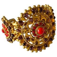 "Chanel Mughal Style Gilt ""pate de verre"" Statement Bracelet"