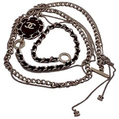 Chanel Multi-Chain And Leather Long Necklace CC Logo