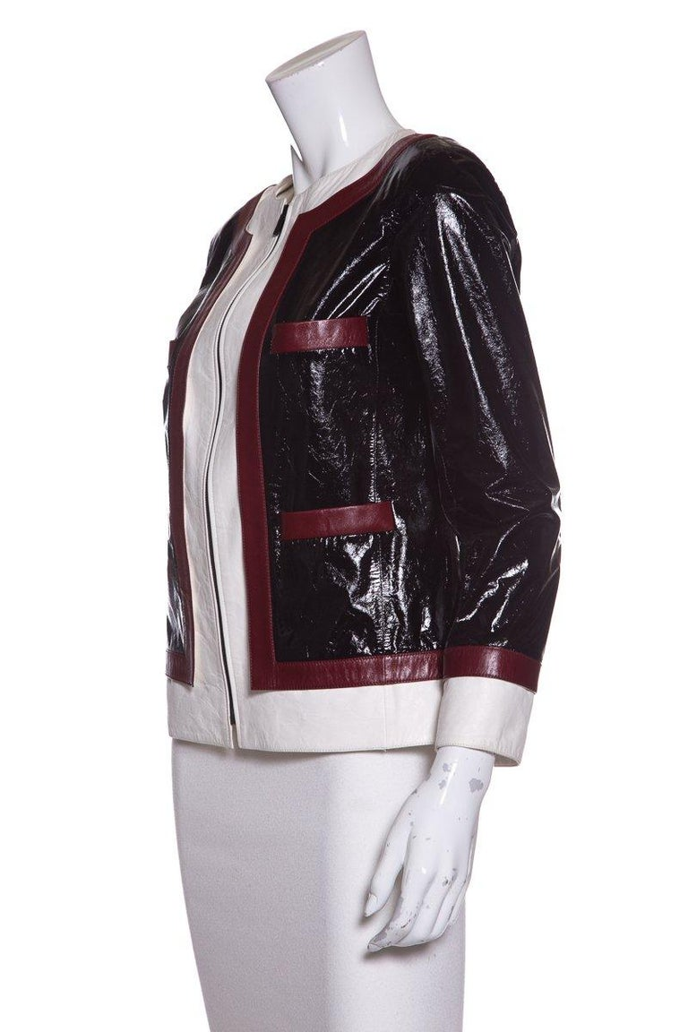 CHANEL  Multi Color-Block Leather Jacket  In Good Condition For Sale In Scottsdale, AZ