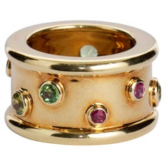 Chanel Multi-Color Gem Wide Gold Ring