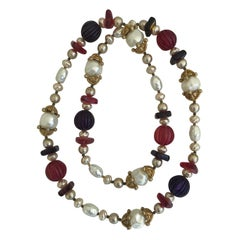 Chanel Multi Color Gripoix Glass Stone and Glass Pearl Necklace