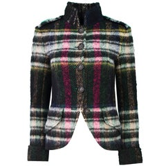 Chanel Multi-Color Plaid Wool-Blend Jacket Sz FR36