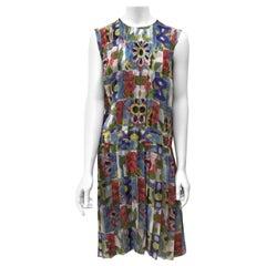Chanel Multi Color Silk Floral Print Dress w/ Tucks-42
