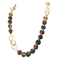Chanel Multi Colored Glass Bead And Gold Necklace, Clasic Timeless Design