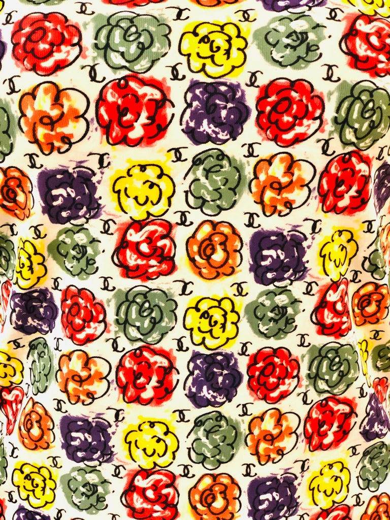 Beige Chanel Multi-Coloured Floral Print T-Shirt  For Sale