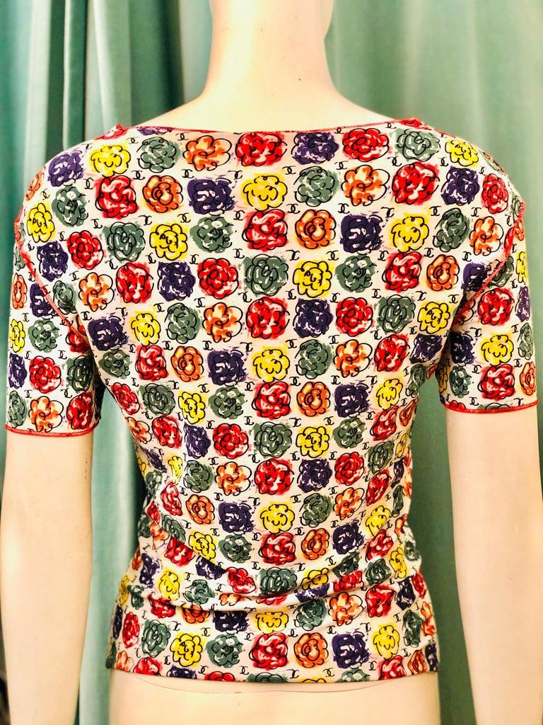 Women's or Men's Chanel Multi-Coloured Floral Print T-Shirt  For Sale