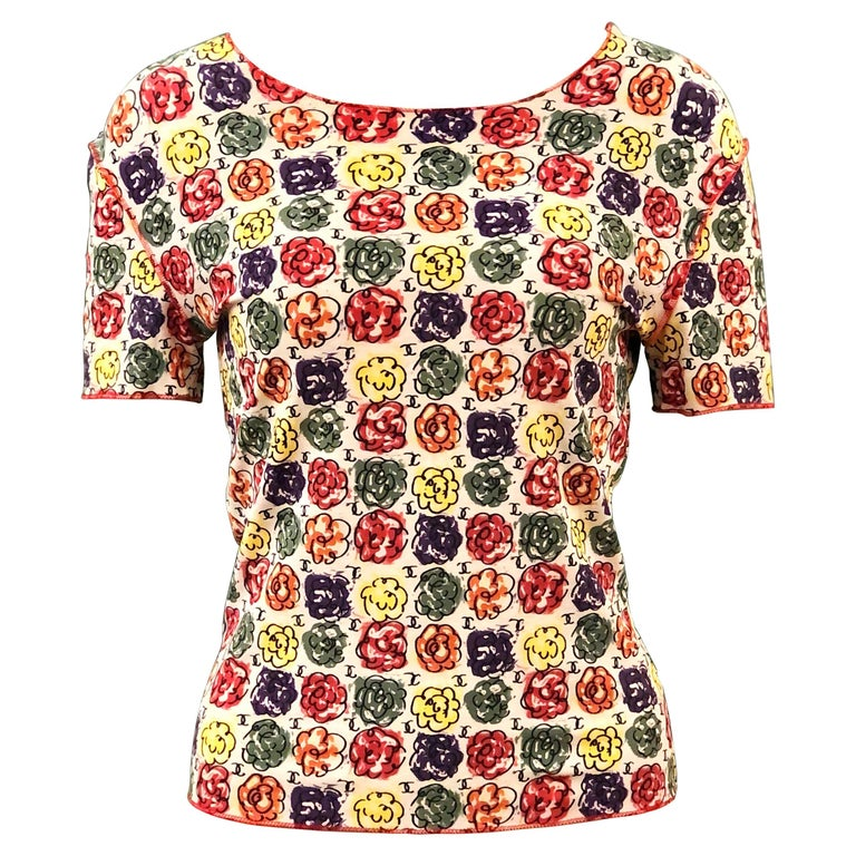 Chanel Multi-Coloured Floral Print T-Shirt  For Sale