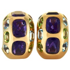 Chanel Multi-Gemstone Yellow Gold Clip-On Earrings
