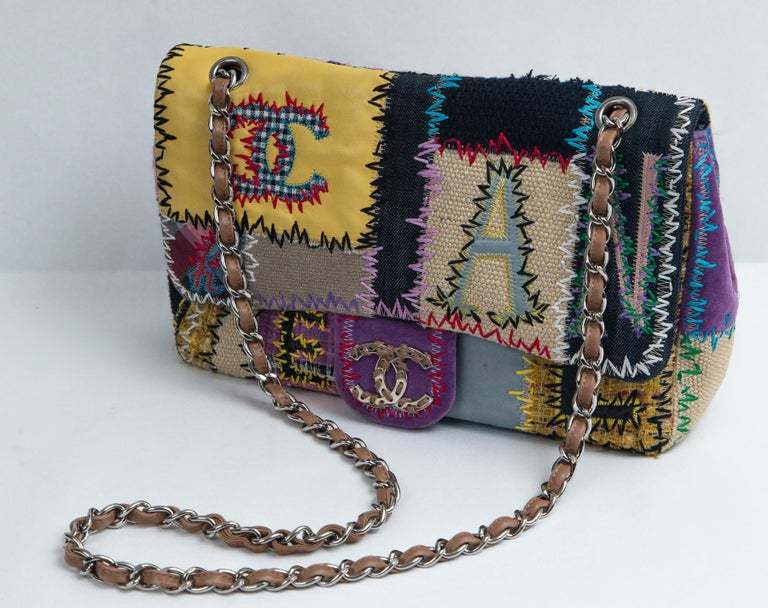 Chanel Multi Patchwork Jumbo Flap Purse For Sale 6
