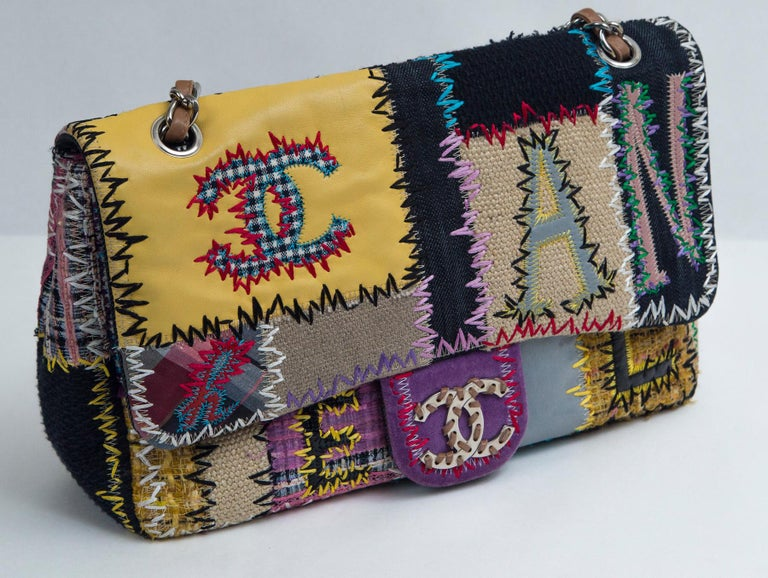 Chanel Multi Patchwork Jumbo Flap Purse In Good Condition For Sale In Norwalk, CT