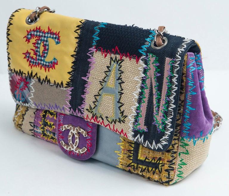 Women's or Men's Chanel Multi Patchwork Jumbo Flap Purse For Sale
