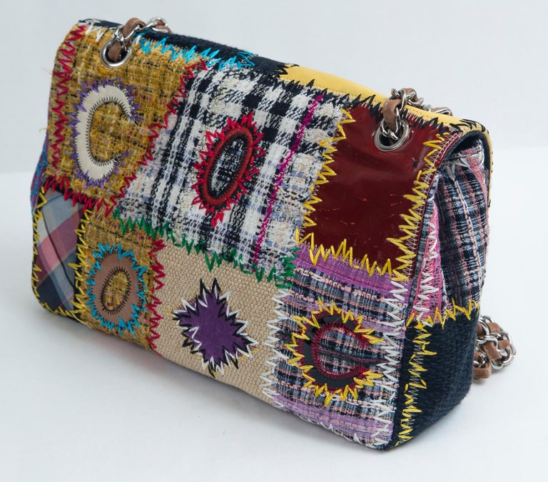 Chanel Multi Patchwork Jumbo Flap Purse For Sale 3