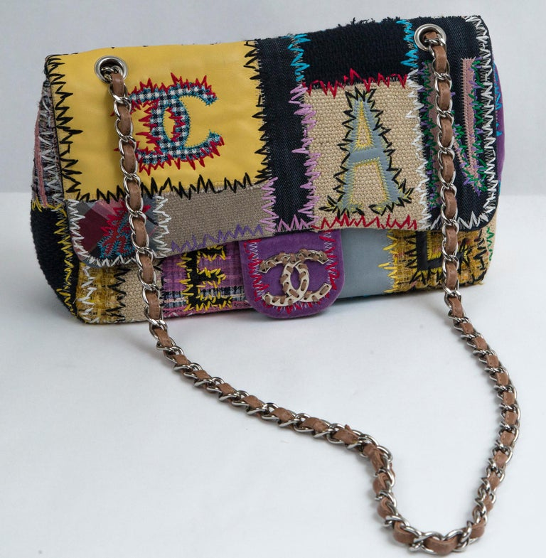 Chanel Multi Patchwork Jumbo Flap Purse For Sale 5
