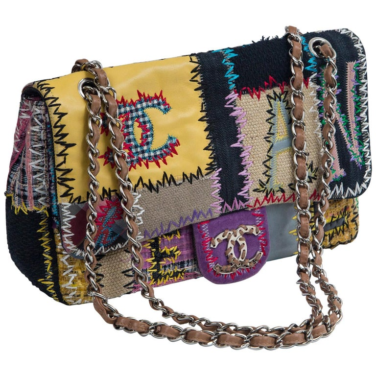 Chanel Multi Patchwork Jumbo Flap Purse For Sale