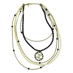 Chanel Multi Row Pearls Necklace With CC Logo