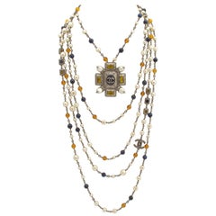 Chanel Multi-Strand Gunmetal Chain Necklace with Pearls and Gripoix Stones