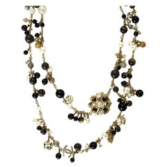 Chanel Multicolor Beaded/ Faux Pearl CC Necklace w/ Autumn Charms