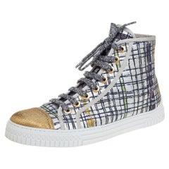 Chanel Multicolor Brocade Fabric & Gold Lame CC Cap Toe High Top Sneaker Size 39
