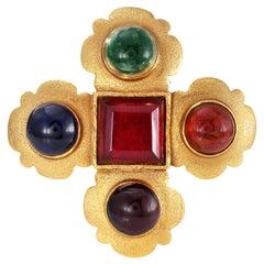 Chanel Multicolor Cabochon Gripoix Vintage Brooch