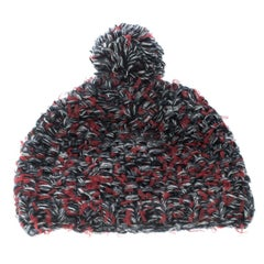 Chanel Multicolor Cashmere and Wool Chunky Knit Pom Pom Beanie