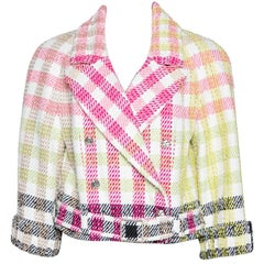 Chanel Multicolor Checked Tweed Cropped Belted Jacket L