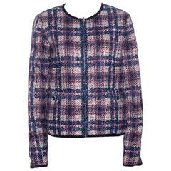 Chanel Multicolor Checked Tweed Print Technical Fabric Reversible Jacket M