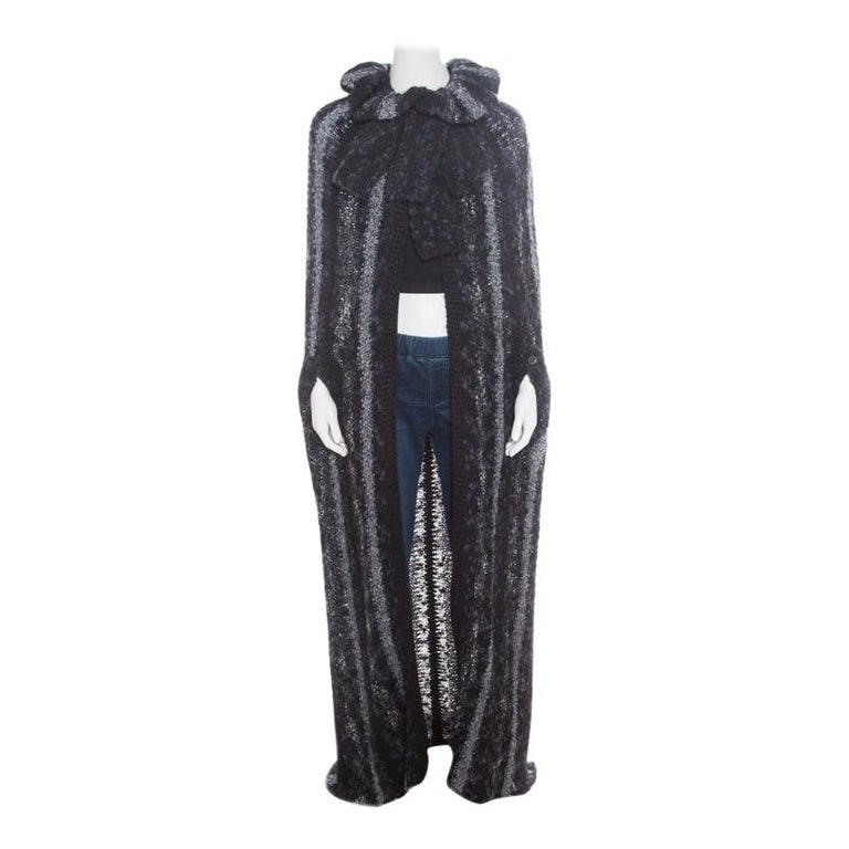 Chanel Multicolor Chunky Knit Tie Detail Cape Style Open Front Long Cardigan M For Sale