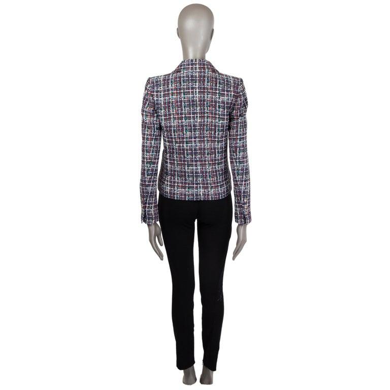 Black CHANEL multicolor cotton PLAID Tweed Blazer Jacket 36 XS For Sale