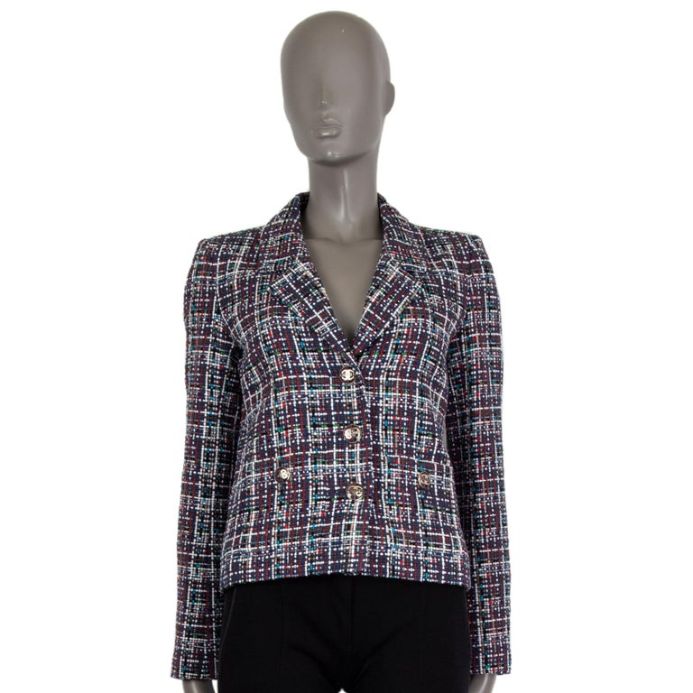 CHANEL multicolor cotton PLAID Tweed Blazer Jacket 36 XS In Excellent Condition For Sale In Zürich, CH
