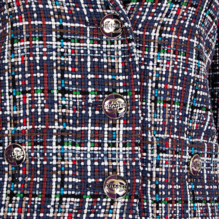 Women's CHANEL multicolor cotton PLAID Tweed Blazer Jacket 36 XS For Sale