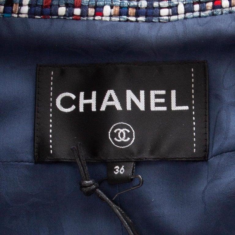CHANEL multicolor cotton PLAID Tweed Blazer Jacket 36 XS For Sale 1