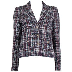 CHANEL multicolor cotton PLAID Tweed Blazer Jacket 36 XS