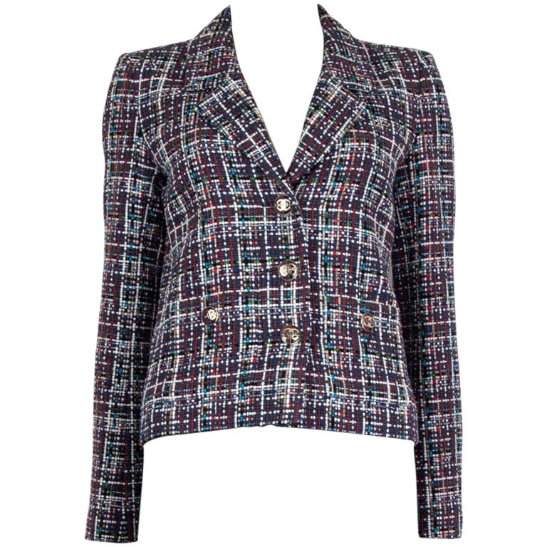 CHANEL multicolor cotton PLAID Tweed Blazer Jacket 36 XS For Sale