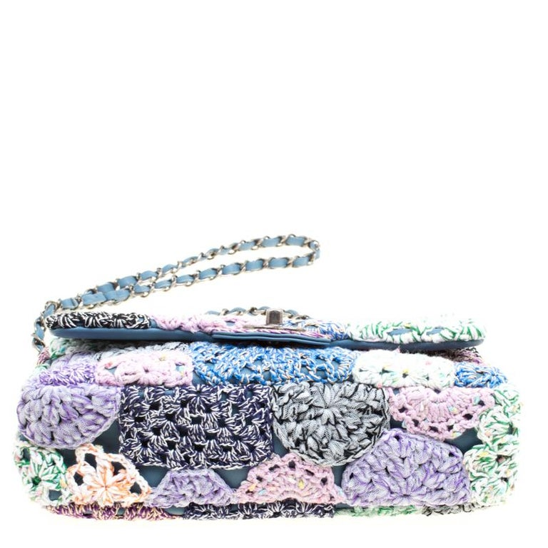 Chanel Multicolor Crochet and Leather Medium Classic Single Flap Bag For  Sale 4 75b623c20907b