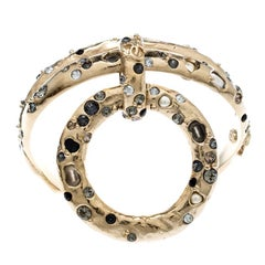 Chanel Multicolor Crystal and Faux Pearl Encrusted Hoop Pendant Bracelet