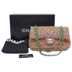 Chanel Multicolor Flap Bag Tweed Green Chain