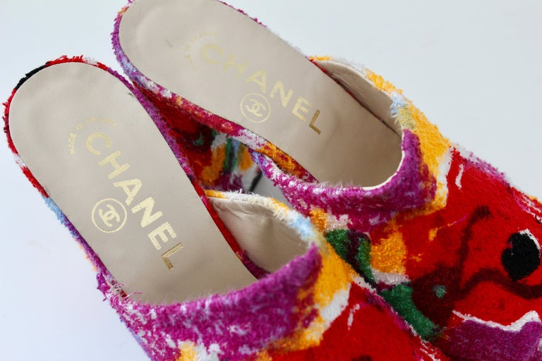 Chanel Multicolor Floral Platforms Sandals Heels Terry Cloth New Old Stock 38  For Sale 7