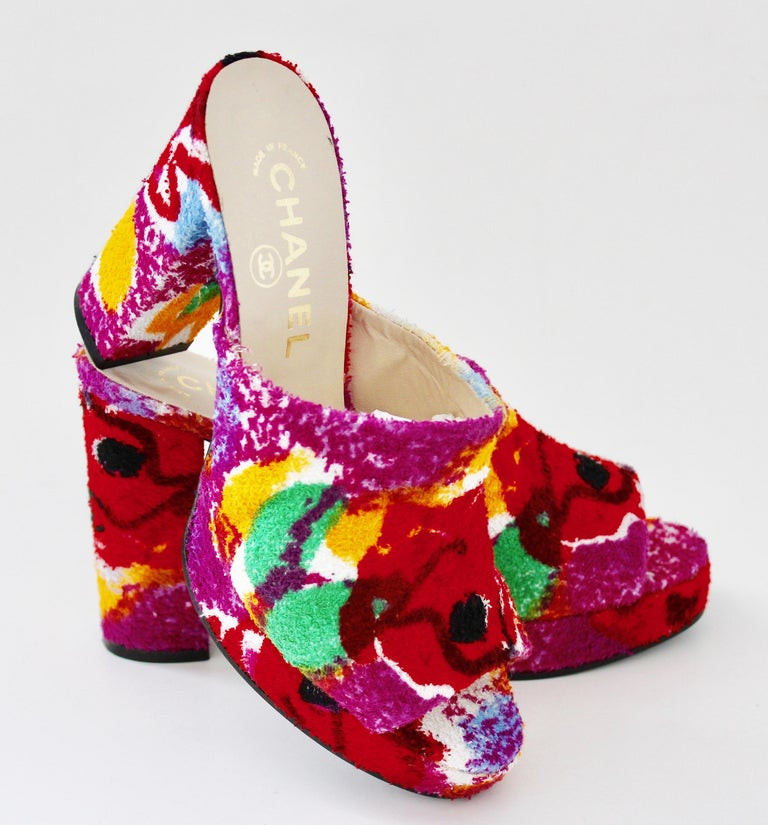 Pink Chanel Multicolor Floral Platforms Sandals Heels Terry Cloth New Old Stock 38  For Sale